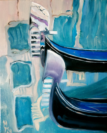 """Painting titled """"Abstract Venice, ci…"""" by Mary Grinkevich, Original Art, Oil Mounted on Stretcher frame"""