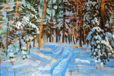 """Painting titled """"Winter forest, oil…"""" by Mary Grinkevich, Original Art, Oil Mounted on Cardboard"""