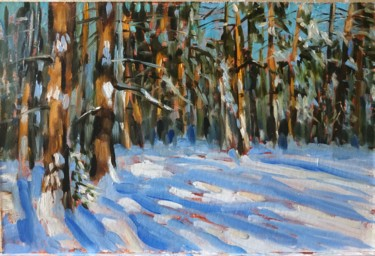 """Painting titled """"Winter forest #2, l…"""" by Mary Grinkevich, Original Art, Oil Mounted on Cardboard"""