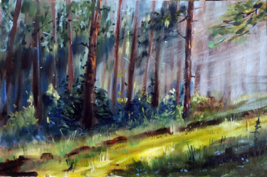 """Painting titled """"Summer forest, land…"""" by Mary Grinkevich, Original Art, Oil Mounted on Cardboard"""