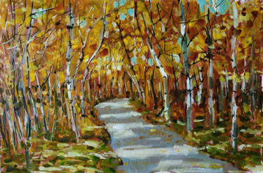 """Painting titled """"Golden autumn fores…"""" by Mary Grinkevich, Original Art, Oil Mounted on Cardboard"""