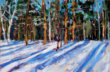 """Painting titled """"Winter forest # 3,…"""" by Mary Grinkevich, Original Art, Oil Mounted on Cardboard"""