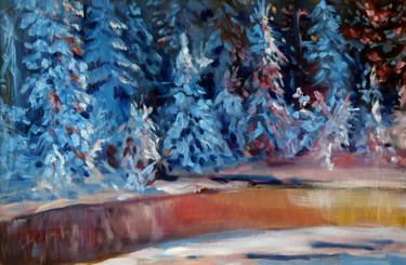 """Painting titled """"Winter forest # 4,…"""" by Mary Grinkevich, Original Art, Oil Mounted on Cardboard"""