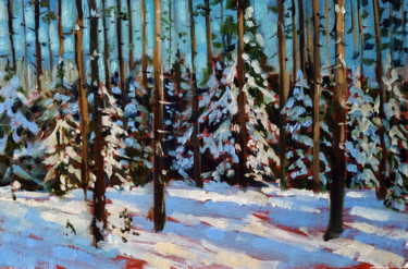 """Painting titled """"Winter forest # 8,…"""" by Mary Grinkevich, Original Art, Oil Mounted on Cardboard"""