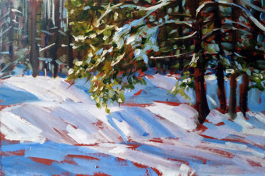 """Painting titled """"Winter forest # 9,…"""" by Mary Grinkevich, Original Art, Oil Mounted on Cardboard"""