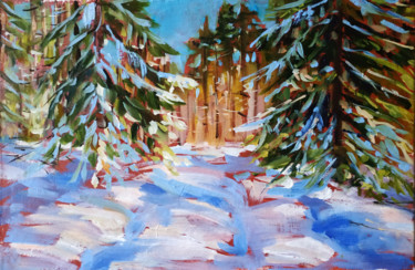 """Painting titled """"Winter forest # 10,…"""" by Mary Grinkevich, Original Art, Oil Mounted on Cardboard"""