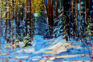 """Painting titled """"Winter forest # 11,…"""" by Mary Grinkevich, Original Art, Oil Mounted on Cardboard"""