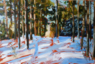 """Painting titled """"Winter forest #12,…"""" by Mary Grinkevich, Original Art, Oil Mounted on Cardboard"""