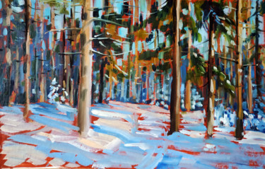 """Painting titled """"Winter forest #13,…"""" by Mary Grinkevich, Original Art, Oil Mounted on Cardboard"""