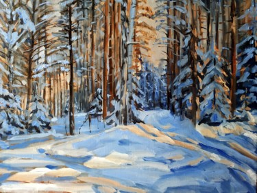 """Painting titled """"Evening light in th…"""" by Mary Grinkevich, Original Art, Oil Mounted on Stretcher frame"""