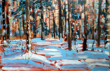 """Painting titled """"Winter forest #14,…"""" by Mary Grinkevich, Original Art, Oil Mounted on Cardboard"""