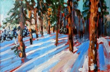 """Painting titled """"Winter forest #15,…"""" by Mary Grinkevich, Original Art, Oil Mounted on Cardboard"""