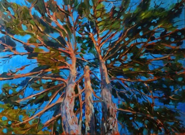 """Painting titled """"Pine trees, landsca…"""" by Mary Grinkevich, Original Art, Oil Mounted on Stretcher frame"""