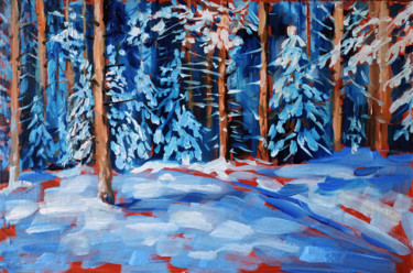 """Painting titled """"Winter forest #16,…"""" by Mary Grinkevich, Original Art, Oil Mounted on Cardboard"""