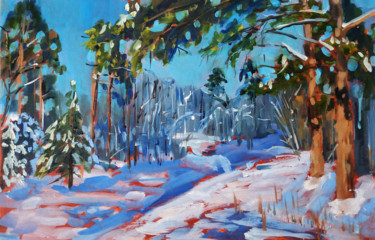 """Painting titled """"Winter forest #17,…"""" by Mary Grinkevich, Original Art, Oil Mounted on Cardboard"""