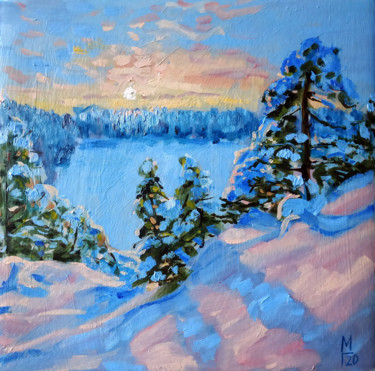 """Painting titled """"Winter forest # 18,…"""" by Mary Grinkevich, Original Art, Oil Mounted on Cardboard"""