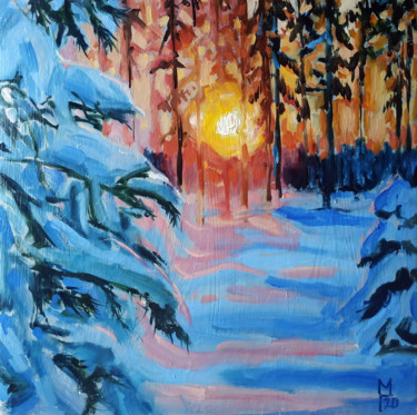"""Painting titled """"Winter forest # 19,…"""" by Mary Grinkevich, Original Art, Oil Mounted on Cardboard"""