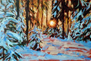 """Painting titled """"Winter forest # 20,…"""" by Mary Grinkevich, Original Art, Oil Mounted on Cardboard"""