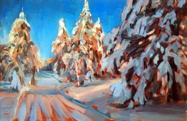 """Painting titled """"Winter forest # 22,…"""" by Mary Grinkevich, Original Art, Oil Mounted on Cardboard"""
