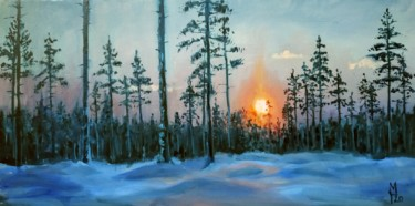 """Painting titled """"Winter forest # 23,…"""" by Mary Grinkevich, Original Art, Oil Mounted on Cardboard"""
