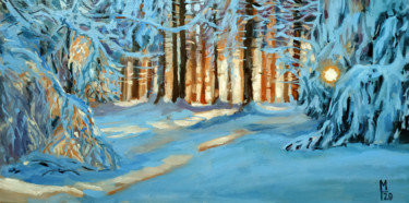 """Painting titled """"Winter forest # 24,…"""" by Mary Grinkevich, Original Art, Oil Mounted on Cardboard"""