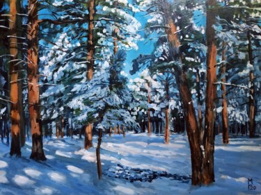 """Painting titled """"Sunny day in winter…"""" by Mary Grinkevich, Original Art, Oil Mounted on Cardboard"""