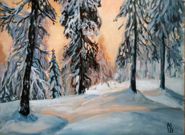 """Painting titled """"Orange sunset in wi…"""" by Mary Grinkevich, Original Art, Oil Mounted on Cardboard"""