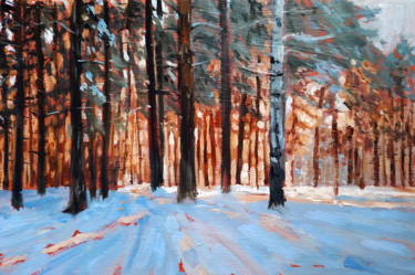 """Painting titled """"Winter forest #25,…"""" by Mary Grinkevich, Original Art, Oil Mounted on Cardboard"""
