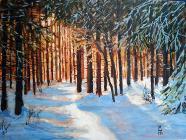 """Painting titled """"Sun light in winter…"""" by Mary Grinkevich, Original Art, Oil Mounted on Cardboard"""