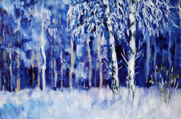 """Painting titled """"Winter forest #26,…"""" by Mary Grinkevich, Original Art, Oil Mounted on Cardboard"""