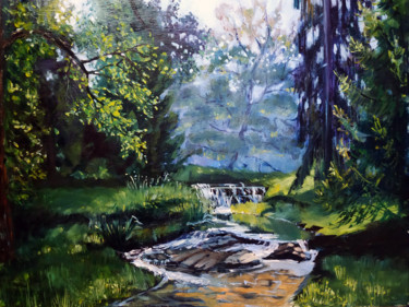"""Painting titled """"Forest brook, lands…"""" by Mary Grinkevich, Original Art, Oil Mounted on Cardboard"""
