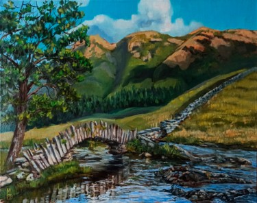 """Painting titled """"Mountainscape, rive…"""" by Mary Grinkevich, Original Art, Oil"""