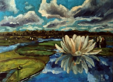 """Painting titled """"Lily pond, landscap…"""" by Mary Grinkevich, Original Art, Oil Mounted on Cardboard"""