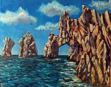 """Painting titled """"Rock scape, sea and…"""" by Mary Grinkevich, Original Art, Oil"""