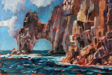 """Painting titled """"Rock scape #2, rock…"""" by Mary Grinkevich, Original Art, Oil Mounted on Cardboard"""