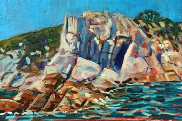 """Painting titled """"Rock scape #4, rock…"""" by Mary Grinkevich, Original Art, Oil Mounted on Cardboard"""