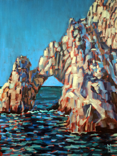 """Painting titled """"Rock scape #5, rock…"""" by Mary Grinkevich, Original Art, Oil Mounted on Cardboard"""
