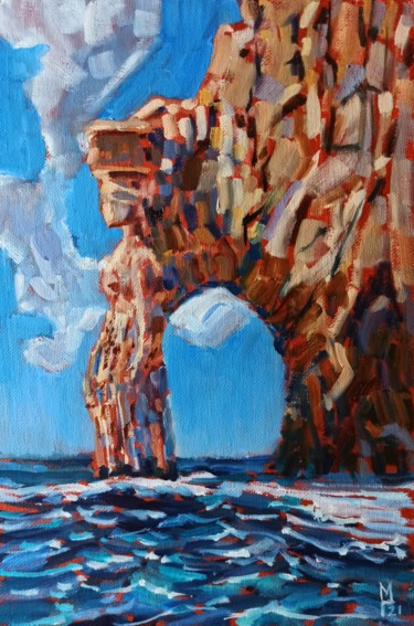 """Painting titled """"Rock fantasy #1, mo…"""" by Mary Grinkevich, Original Art, Oil Mounted on Other rigid panel"""