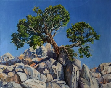 """Painting titled """"Rock and juniperus,…"""" by Mary Grinkevich, Original Art, Oil"""