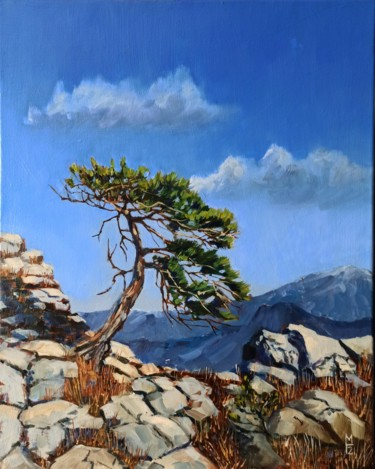 """Painting titled """"Mountainscape, rock…"""" by Mary Grinkevich, Original Art, Oil"""