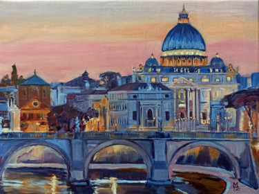 """Painting titled """"Rome. Cityscape pai…"""" by Mary Grinkevich, Original Art, Oil Mounted on Stretcher frame"""
