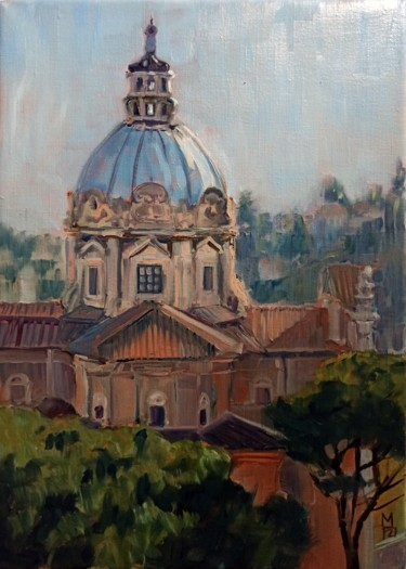 """Painting titled """"Rome. Santi Luca e…"""" by Mary Grinkevich, Original Art, Oil Mounted on Stretcher frame"""