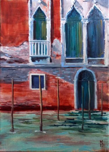 """Painting titled """"Venice. cityscape p…"""" by Mary Grinkevich, Original Art, Oil Mounted on Stretcher frame"""