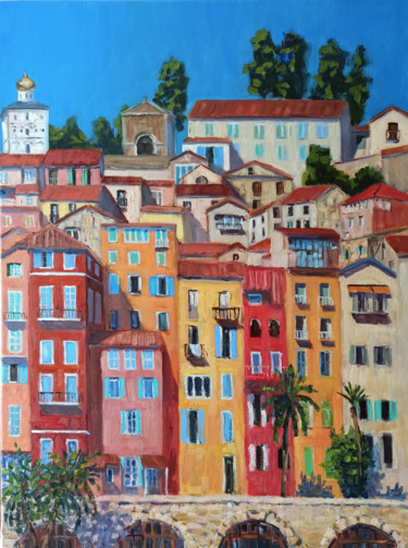 """Painting titled """"City on the cote d'…"""" by Mary Grinkevich, Original Art, Oil"""