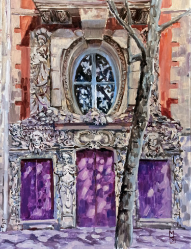 """Painting titled """"Building in Paris,…"""" by Mary Grinkevich, Original Art, Oil Mounted on Cardboard"""