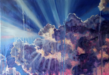 """Painting titled """"Cloudy sky, landsca…"""" by Mary Grinkevich, Original Art, Oil"""