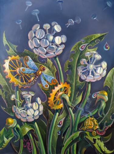 """Painting titled """"Steampunk Flowers"""" by Greg Known, Original Art, Oil"""
