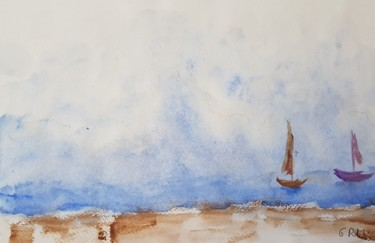 Boat Painting, watercolor, figurative, artwork by Ghislaine Rimmen-Mohl