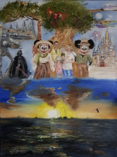 """Painting titled """"Family - Mickey & t…"""" by Peter Grundtner, Original Art, Oil"""