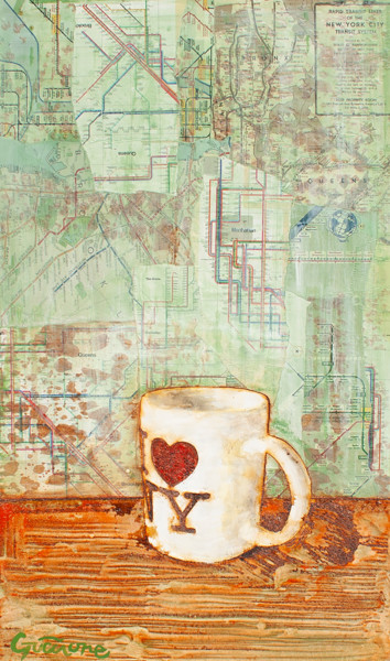 """Painting titled """"NY Mug"""" by Davide Guccione, Original Art, Collages"""